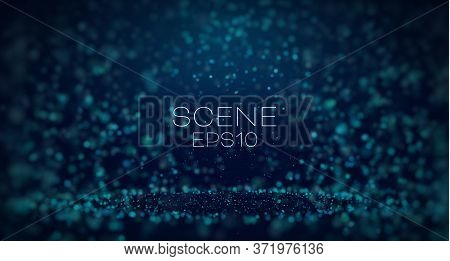 Abstract Blue Illustration On Dust Light Background. Abstract Snow, Blizzard. Scene Light Particle D