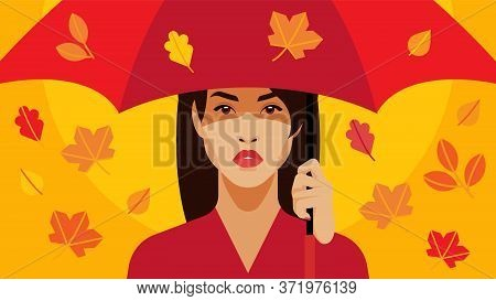 Leaf Fall And A Beautiful Girl. Close-up Woman Under The Red Umbrella. The Walking Under The Fall Fo