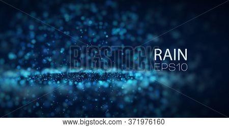 Abstract Vector Rain Background. Splash Drops On Asphalt. Underwater Color