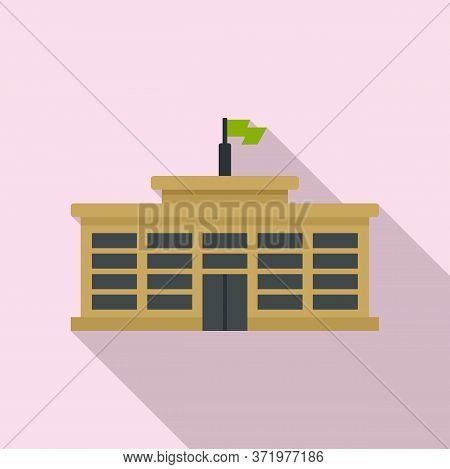 College Building Icon. Flat Illustration Of College Building Vector Icon For Web Design