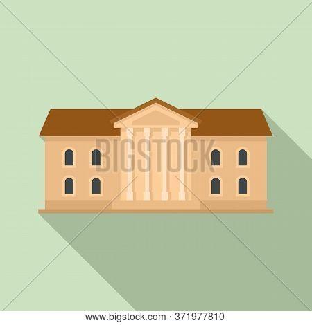 Institute Building Icon. Flat Illustration Of Institute Building Vector Icon For Web Design