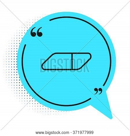 Black Line Eraser Or Rubber Icon Isolated On White Background. Blue Speech Bubble Symbol. Vector Ill