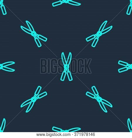 Green Line Gardening Handmade Scissors For Trimming Icon Isolated Seamless Pattern On Blue Backgroun
