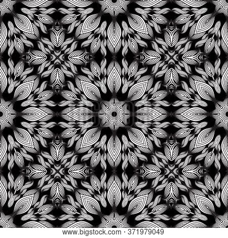 Lines Flowers Seamless Pattern. Vector Black And White Floral Background. Monochrome Repeat Ornament