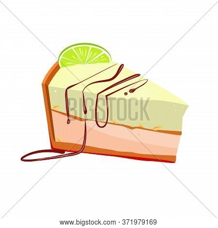 Slice Of Key Lime Cake With Peanut Illustration. Cake, Sweet Food, Bakery. Dessert Concept. Illustra