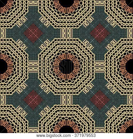 Geometric Seamless Pattern. Greek Knitted Colorful Background. Repeat Tribal Ethnic Backdrop. Geomet