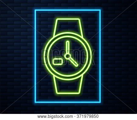 Glowing Neon Line Wrist Watch Icon Isolated On Brick Wall Background. Wristwatch Icon. Vector Illust