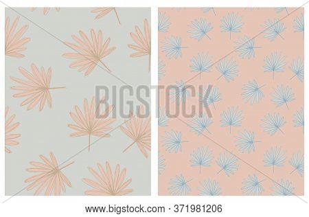 Abstract Palm Leaves Seamless Vector Pattern. Pale Green And Dusty Red Tropical Repeatable Design. A
