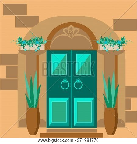 Old Wooden Door To Stone House. Door Is Painted In Blue In Mediterranean Style. Vintage Round Pens A