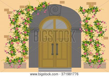Old Wooden Door To Stone House. Door Is Large In Mediterranean Style. Antique Metal Handles, Decor W