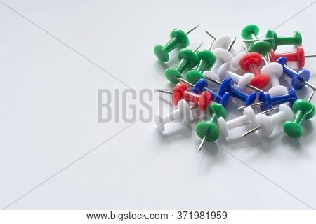Office Or School Objects. Multi Colored Push Pins Isolated On White Background. Pushpins Collection.