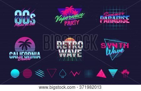 6 Retro Neon Logo Templates And 10 Trendy Elements To Create Your Own Design. Print For T-shirt, Ban