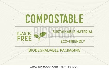 Compostable Packaging Vintage Label. Old Label With Plant Icon. Trendy Minimal Design. Label, Tag, L