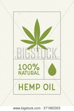 Hemp Oil Vintage Label. Old Label Design With Water Drop And Cannabis Leaf Icon. Retro Design Label,