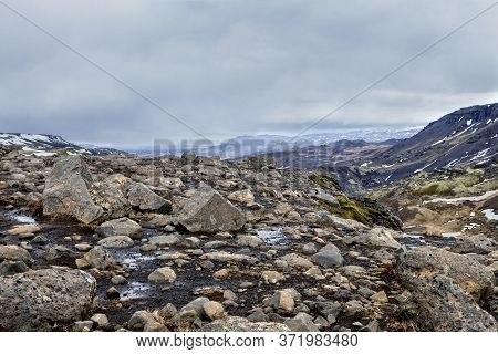 The Rocky Landscape At Haifoss In Iceland