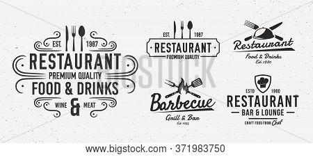 Restaurant Logo Set. Vintage Restaurant Emblems. Restaurant Labels, Emblems, Logo. Vector Logo Templ