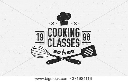 Vintage Chef Logo. Cooking Class Template Logo With Spatula, Whisk And Chef Hat. Modern Design Poste