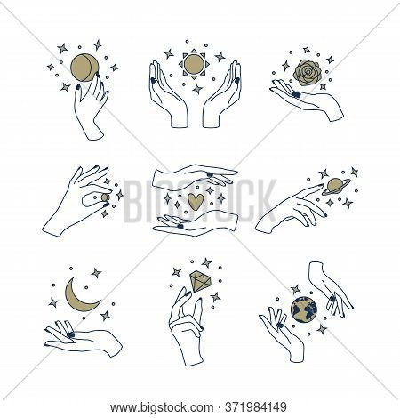 Minimal Woman Hands With Design Elements. Feminine Hands. Logo Design Template In Trendy Linear Mini