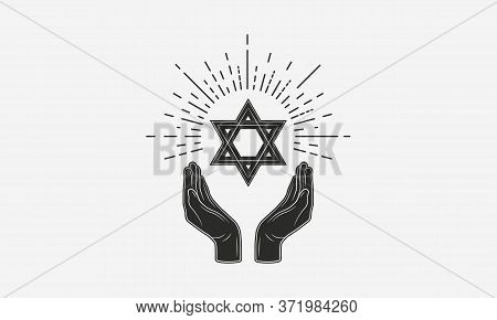 Vintage Jewish Logo. Hands With Star Of David And Sunburst. Jewish Icon. Vector Illustration