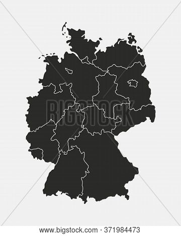 Germany Map Isolated On White Background. Germany Map With Regions, States. Vector Template.