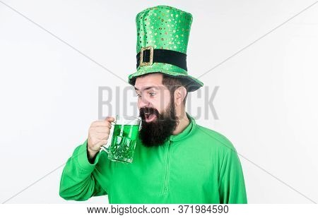 Man Bearded Hipster Hat Patricks Day Drink Pint Beer. Saint Patricks Day Holiday. Colored Beverage P