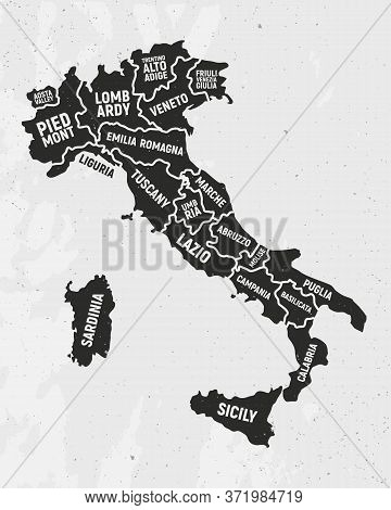 Italy Map With States. Poster Map Of Italy With State Names. Vintage Italian Background. Vector Illu