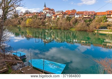 Boat At River Krka In Novo Mesto Slovenia