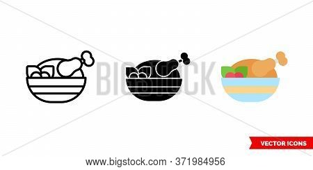 Roast Chicken Icon Of 3 Types. Isolated Vector Sign Symbol.