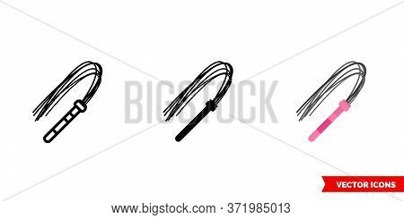 Sex Leather Whip Icon Of 3 Types. Isolated Vector Sign Symbol.