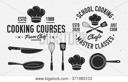 Vintage Cooking Logo With Cooking Utensils. Cooking Class Logo Template With Knife, Cooking Pan, Che