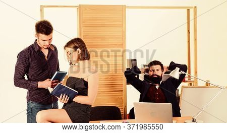 Woman Attractive Lady Working With Men Colleagues. Office Atmosphere Concept. Sexual Attraction. Sti