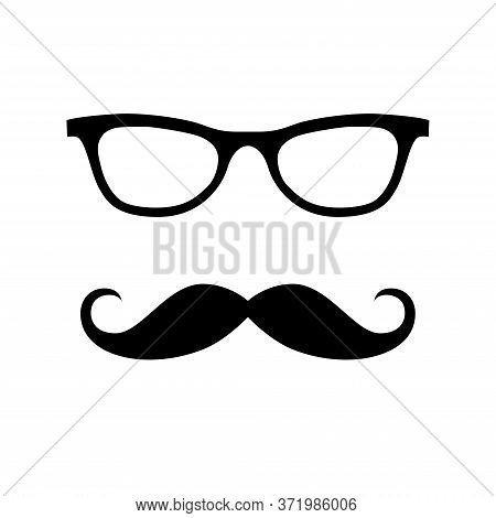 Glass, Mustache. Happy Father's Day Labels. Flat Style Vector Logo And Emblems For Barbershop, Greet