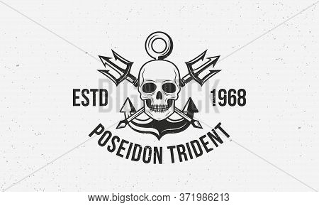 Poseidon Trident - Vintage Logo Template With Grunge Texture. Nautical Logo With Tridents, Anchor An