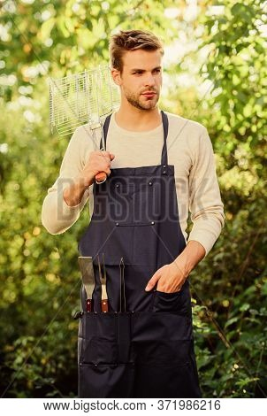 Enjoying Nice Weekend. Picnic Cooking Utensils. Outdoor Party Weekend. Family Weekend Outing. Summer