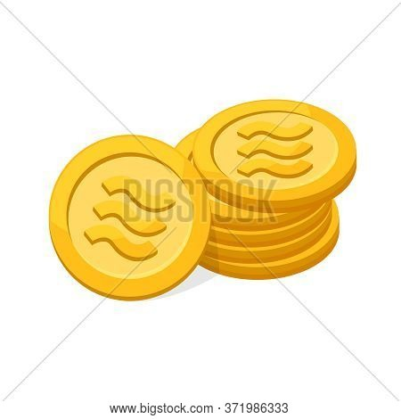 Pile Coin Gold Realistic Logo Libra Calibra Currency Isolated On White Background, Libra Calibra Cur