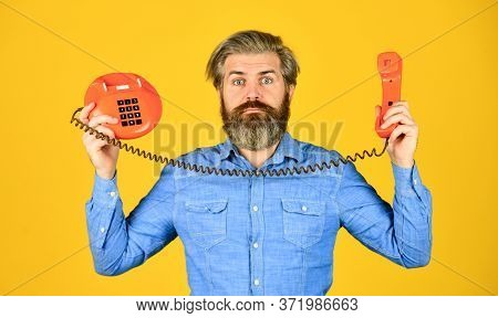 Lab Of Advertisement. Brutal Guy With Telephone. Mature Bearded Man Talk On Retro Phone. Vintage Tec