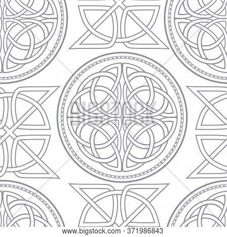 Scandinavian Celtic Seamless Wallpaper . Elegant Monochrome Patterns Of Celtic Crosses And Ethnic Pa