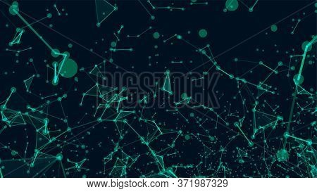 Abstract polygonal space dark background with connecting dots and lines. Network connection structure.Low poly shape background. Vector illustration. Big data visualization.