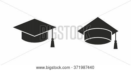 Graduation Cap, Education Cap Icon Set Isolated On White Background. Scholarship Icon. Graduation Ce