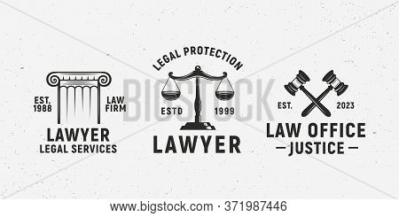 Justice, Law Vintage Logo Set. Lawyer Logo Templates. Justice Scales, Gavel. Lawyer, Advocate, Notar