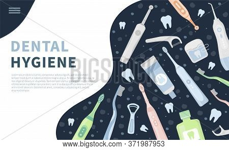 Vector Illustration Set, Landing Page Or Banner Of Dental Cleaning Tools, Oral Care Hygiene Products