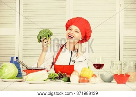 Housewife Daily Routine. Girl Adorable Chef. Housewife Cooking And Drink Wine. Enjoy Easy Ideas For