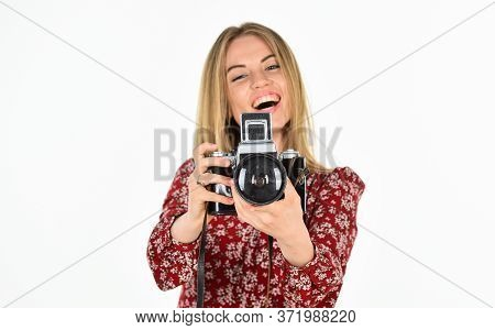 Turn Your Creativity Into Career. Skilled Photographer. Girl Take Photo With Retro Camera. Camera Se