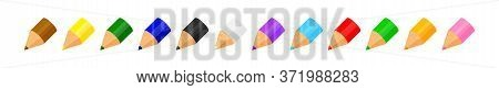 Colorful Crayon Pastel Pencils Cute In A Row Isolated On White, Clip Art Crayon Pencil Cartoon, Coll