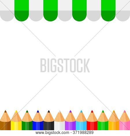 Colorful Crayon Pastel Pencils Cute In A Row On Banner Awning Copy Space, Collection Colored Pencils
