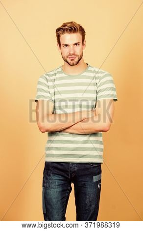 Fashion Portrait Of Man. Summer Fashion. Unshaven Student Guy. Perfect Look Of Muscular Man. Serious