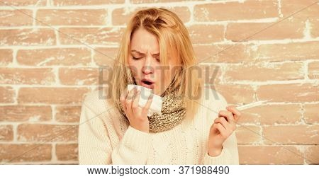 Woman Feels Badly Ill. How To Bring Fever Down. Fever Symptoms And Causes. Sick Girl With Fever. Gir