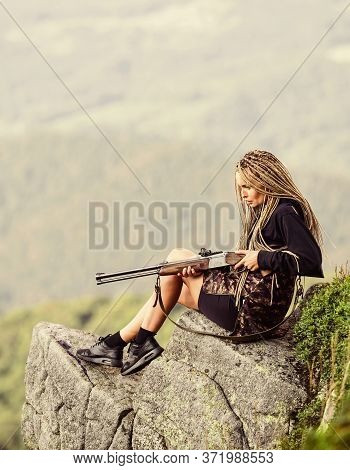 Sexy Warrior. Woman Attractive Long Hair Pretty Face Hold Rifle For Hunting. Aiming Concept. Amazon