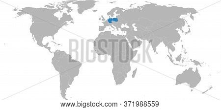 Poland, Germany Countries Isolated On World Map. Light Gray Background. Business Concepts, Backgroun