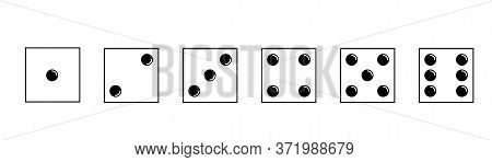Dice Icons Set. Traditional Die With Six Faces Of Cube Marked With Different Numbers Of Dots Or Pips